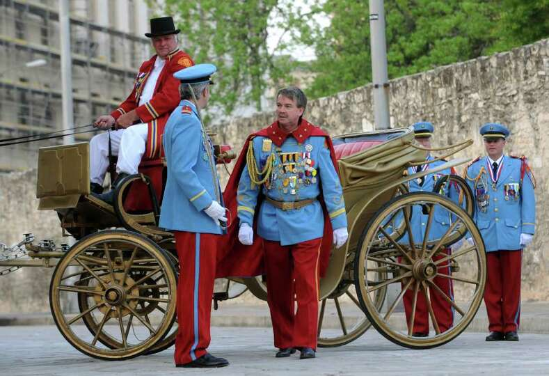 Bill Mitchell, the new King Antonio, arrives in Alamo Plaza for his public investiture ceremony on A