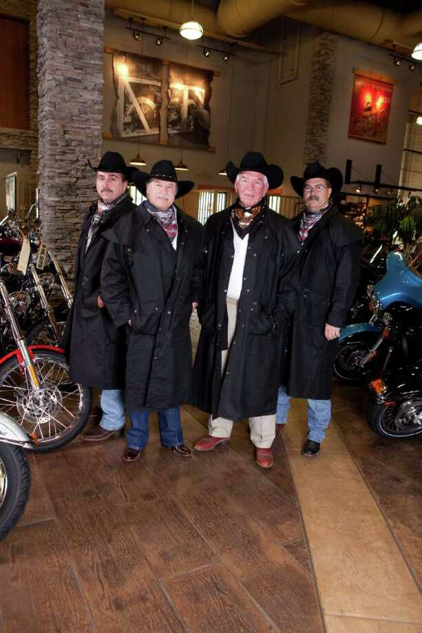 Photo courtesy of  Gift of Life.  The Julie Rogers' Gift of Life program will host Champagne and Ribs Tuesday at Cowboy-Harley Davidson. Pictured, from left, is co-chair Tom Broussard, honorees Joe Penland and Walter Umphrey, and co-chair, Jim Broussard. Photo: Courtesy Of Gift Of Life / Beaumont