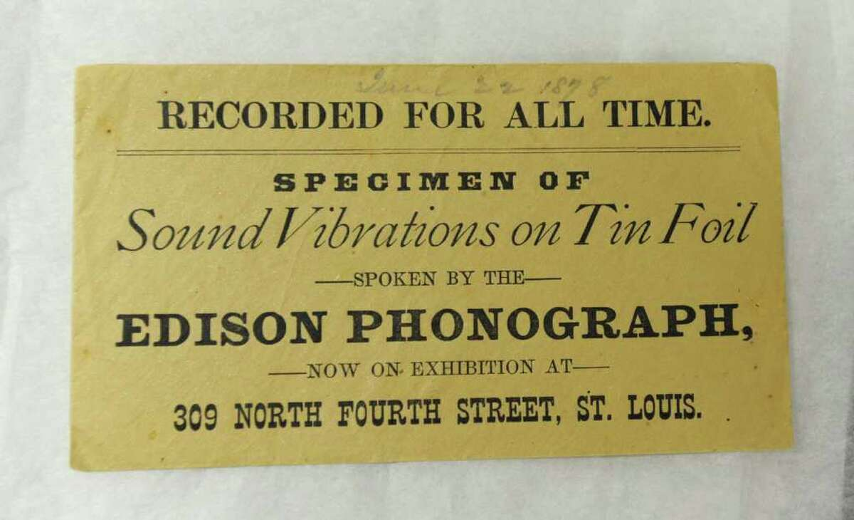 Label from the box containing a rare Thomas Edison tinfoil recording from June 22, 1878, in St. Louis, Mo., which is now at the Schenectady Museum. The Schenectady Museum received a grant to preserve the fragile recording with a $25,000 Save America's Treasures grant. (Lori Van Buren / Times Union)