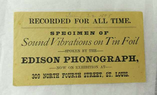 Label from the box containing a rare Thomas Edison tinfoil recording from June 22, 1878, in St. Louis, Mo., which is now at the Schenectady Museum. The Schenectady Museum received a grant to preserve the fragile recording with a $25,000 Save America's Treasures grant. (Lori Van Buren / Times Union) Photo: Lori Van Buren