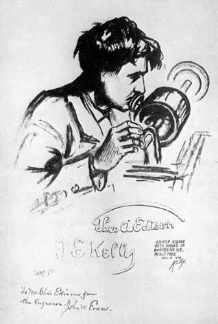 Sketch of Thomas Edison talking into the Tin Foil Phonograph by James Edward Kelly 1878. (Courtesy Schenectady Museum)