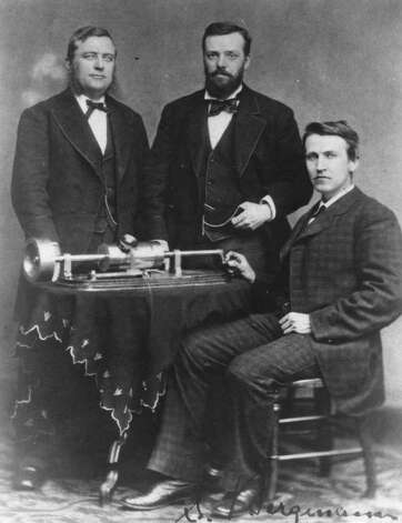 From left, Uriah Painter, correspondent for the Philadelphia Inquirer; Edison assistant Charles Batchelor and Thomas Edison with the Edison phonograph in Mathew Brady?s photography studio in Washington, D.C., April 18, 1878. (Courtesy Schenectady Museum)