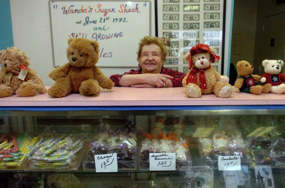 Wanda Hornack poses inside her candy store, Wanda's Sugar Shack, in downtown Milford, Conn. on Friday April 1, 2011. Wanda has been selling candy for 38 years now, making much of her own as well as stocking a lot of hard-to-find candies. Photo: Christian Abraham / Connecticut Post