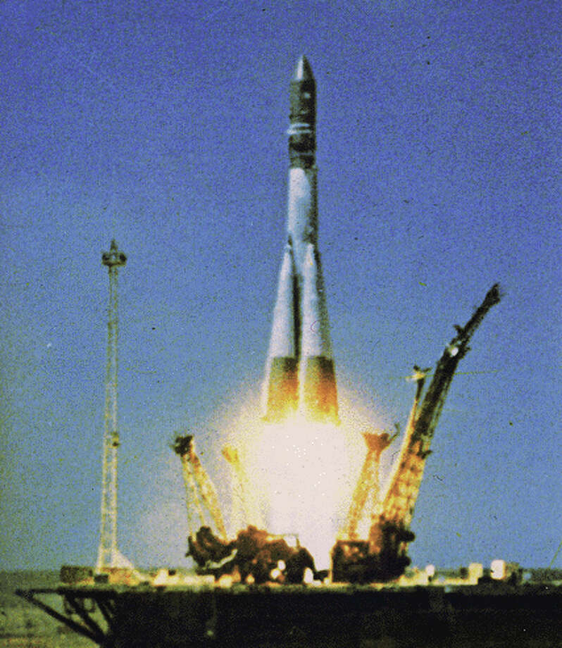 The Soviet Union's powerful Vostok 1 launches cosmonaut Yuri Gagarin's capsule high enough for one 108-minute orbit of the Earth on April 12 1961, making him the first person in space. Photo: NASA
