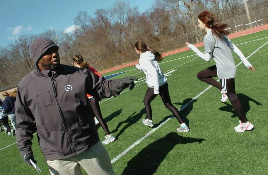 Spring sports preview at Staples High School in Westport, Conn. on Tuesday March 29, 2011. Girls track head coach Jesse McCray. Photo: Christian Abraham / Connecticut Post