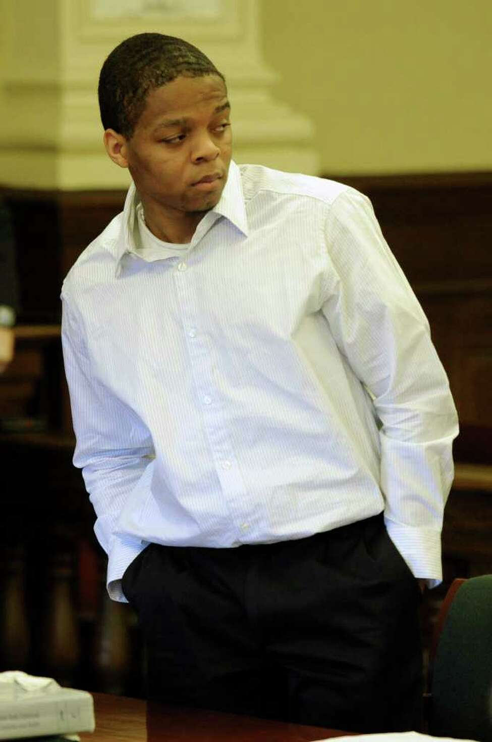 Ayerius Benson in the courtroom of Judge Andrew Ceresia in Troy, N.Y., on April 11, 2011. He is standing trial for the alleged murder of Turhan Tate April 15, 2010. (Skip Dickstein / Times Union)