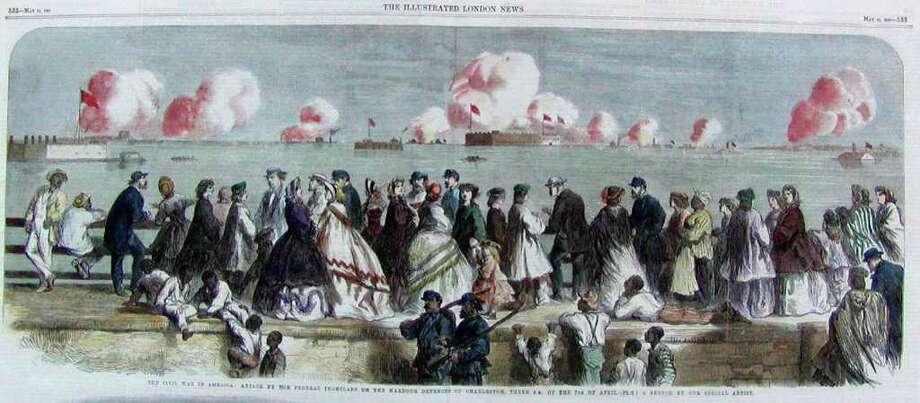 Illustration depicting the Battle of Fort Sumter, which started on April 12, 1861 in Charleston Harbor S.C.  (Courtesy National Park Service)