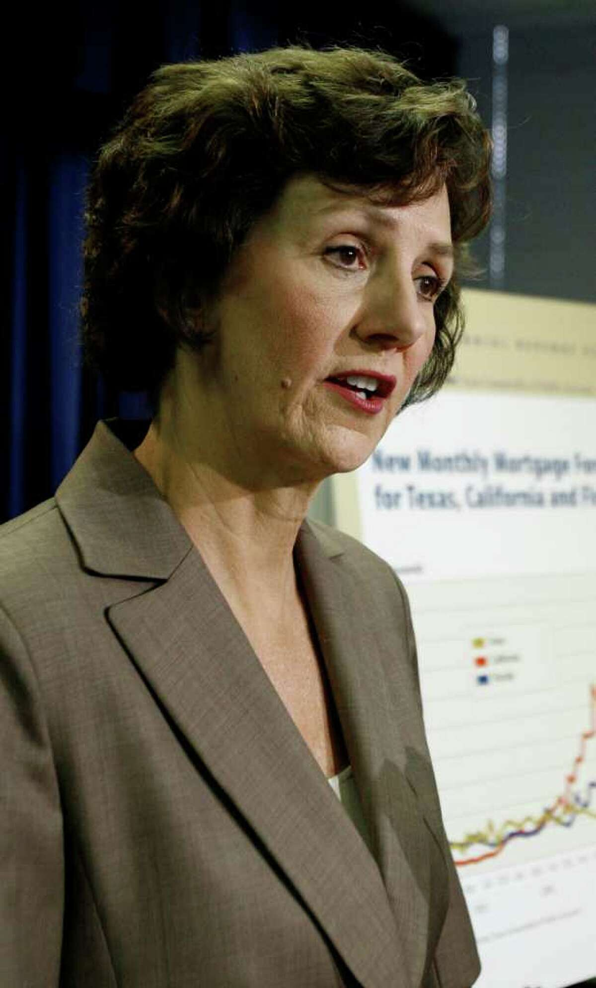 Texas Comptroller Susan Combs speaks during a news conference Monday, Jan. 12, 2009, in Austin, Texas. She says Texas revenue will drop about $9 billion in the next two-year spending cycle. The grim news comes the day before lawmakers convene in Austin for this year's legislative session. The revenue estimate covers the 2010-2011 fiscal years and is based mostly on sales tax forecasts.