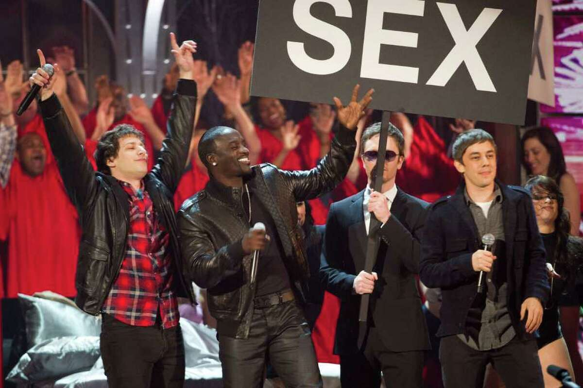 From left, Andy Samberg, Akon, Akiva Schaffer and Jorma Taccone appear onstage at the