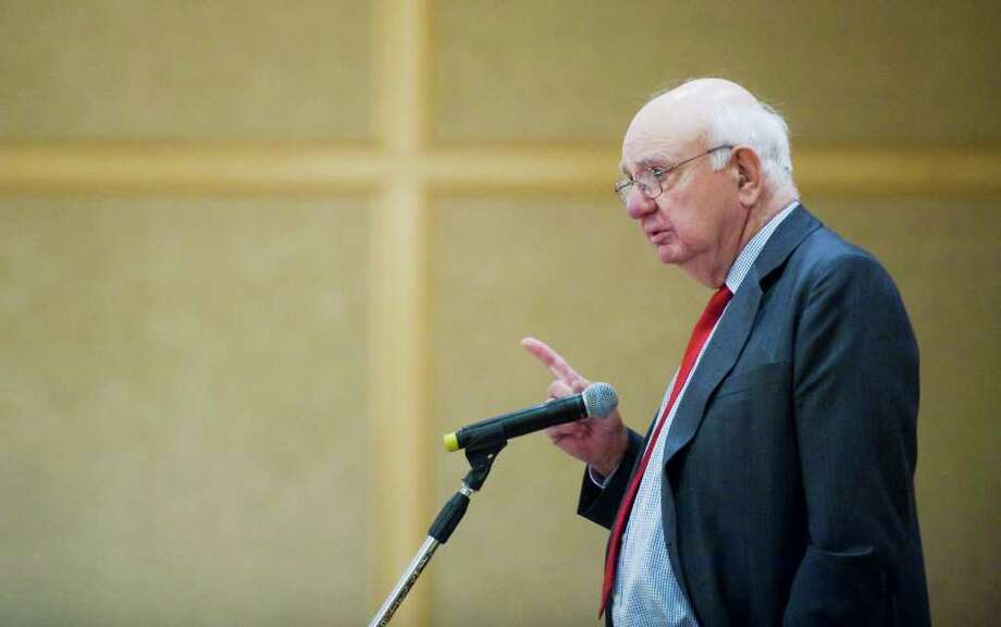 Paul Volcker, former Federal Reserve Chairman, addresses the audience at the Family Centers' Business Breakfast at the Stamford Plaza Hotel and Conference Center in Stamford, Conn. on Tuesday April 12, 2011. Photo: Kathleen O'Rourke / Stamford Advocate