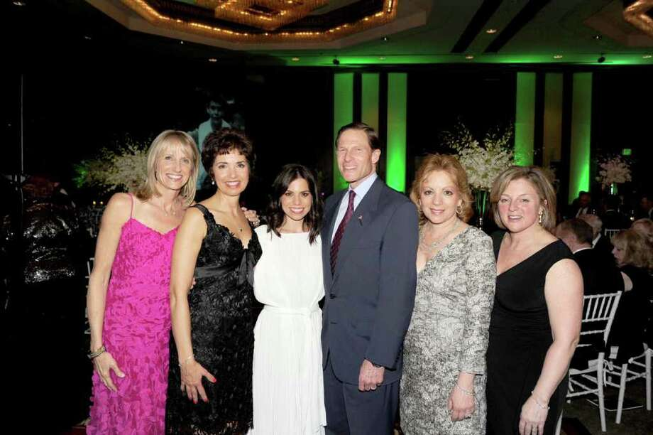 "Time for Lyme recently held its gala, ""Illusions for Lyme,""  to raise funds for research toward a cure for Lyme disease and tick-borne illness.  At the event, from left, Greenwich resident and gala co-chair Julia Knox, organization co-founder and Greenwich resident Diane Blanchard, Star Light honoree Ally Hilfiger, Sen. Richard Blumenthal, Greenwich resident and gala co-chair Linda Huston, and Time for Lyme co-founder and Greenwich resident Debbie Siciliano. Photo: Contributed Photo / Greenwich Citizen"