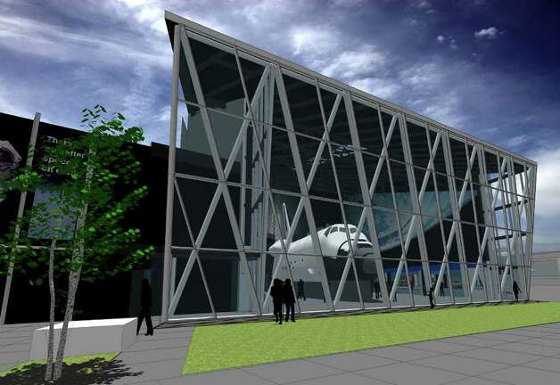A depiction of the Seattle Museum of Flight's Space Gallery, with the shuttle full-fuselage trainer. Photo: Museum Of Flight