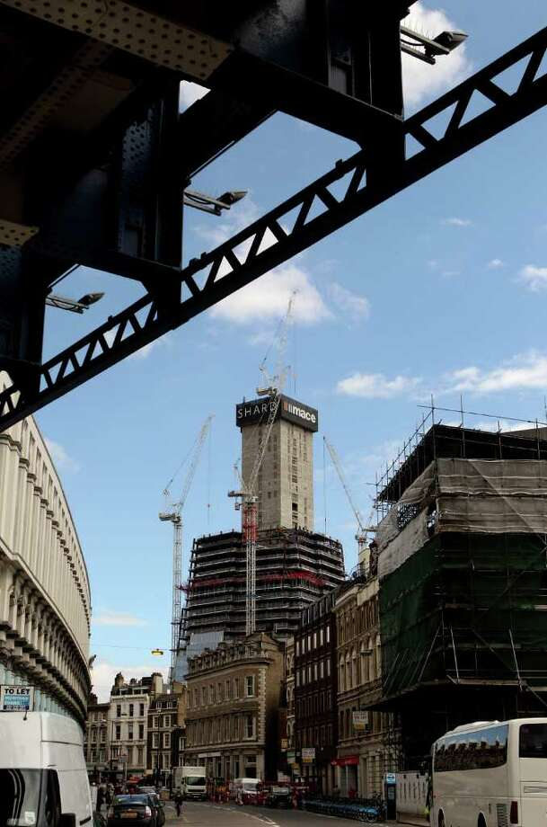 Building work continues on 'The Shard' skyscraper adjacent to London Bridge train station on August 23, 2010 in London, England. Photo: Oli Scarff, Getty Images / 2010 Getty Images