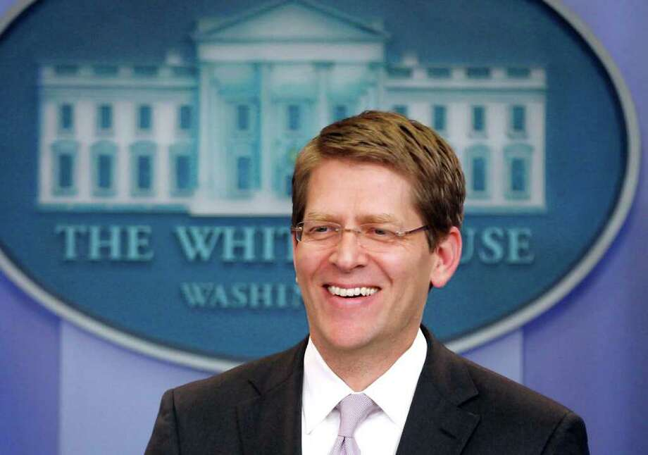 White House Press Secretary Jay Carney briefs reporters at the White House in Washington, Tuesday, April 12, 2011. (AP Photo/Charles Dharapak) Photo: Charles Dharapak