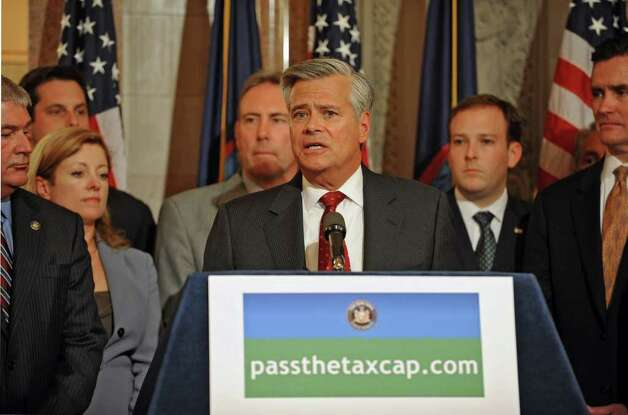 Senate Majority Leader Dean Skelos speaks during a press conference at the Capitol in Albany, N.Y. Tuesday April 12, 2011. Senate and Assembly Republicans and business organizations held a news conference to urge the Assembly to act on the governor?s property tax cap legislation. (Lori Van Buren / Times Union) Photo: Lori Van Buren