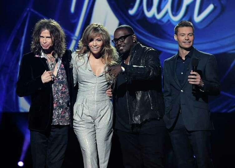 From left to right, singer Steven Tyler, singer Jennifer Lopez, musician Randy Jackson, and televisi