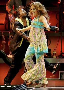 Jennifer Lopez performs while on a concert tour with her husband Marc Anthony, not shown, in Miami Friday, Nov. 2,  2007. Photo: Lynne Sladky, AP / AP