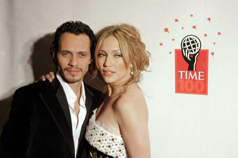 Singers Marc Anthony and his wife Jennifer Lopez  arrive for Time's celebration of the magazine's '1