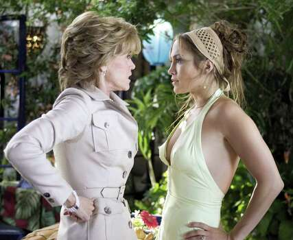 "In this undated promotional photo released by New Line Productions, Jane Fonda, left, as Viola and Jennifer Lopez as Charlie appear in this scene from ""Monster-in-Law."" Photo: MELISSA MOSELEY, AP / NEW LINE"