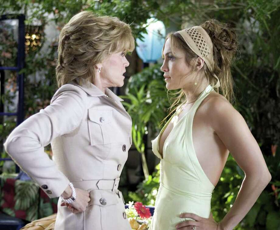 """In this undated promotional photo released by New Line Productions, Jane Fonda, left, as Viola and Jennifer Lopez as Charlie appear in this scene from """"Monster-in-Law."""" Photo: MELISSA MOSELEY, AP / NEW LINE"""