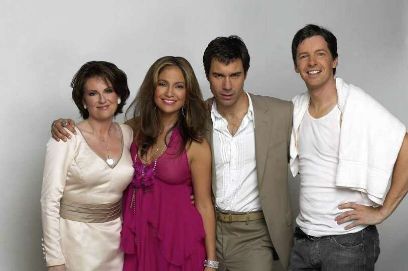WILL & GRACE -- NBC Series -- Pictured: (l-r) Megan Mullally, Jennifer Lopez, Eric McCormack,