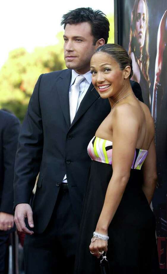 """Daredevil"" star Ben Affleck poses with his fiancee', actress/singer Jennifer Lopez, at the premiere of the film in the Westwood section of Los Angeles, Sunday, Feb. 9, 2003. Photo: CHRIS PIZZELLO, AP / AP"