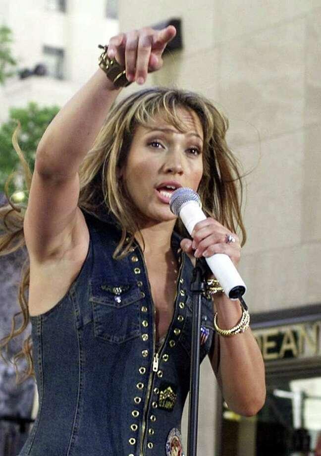 "Entertainer Jennifer Lopez performs on NBC's ""Today"" show Friday, July 13, 2001, in New York's Rockefeller Center. Photo: RICHARD DREW, AP / AP"