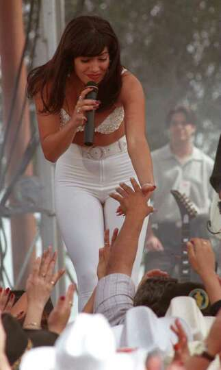 Jennifer Lopez performs as Selena during the filming of the Selena movie Saturday in Poteet.  E/N Ph