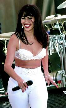 Jennifer Lopez as Selena perfors during the filming of the Monterrray concert scene in Poteet for the big scene movie about Selena's life.  FOR METRO 10-19-96 THELMA Photo: DOUG SEHRES