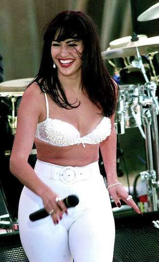 Jennifer Lopez as Selena perfors during the filming of the Monterrray concert scene in Poteet for th