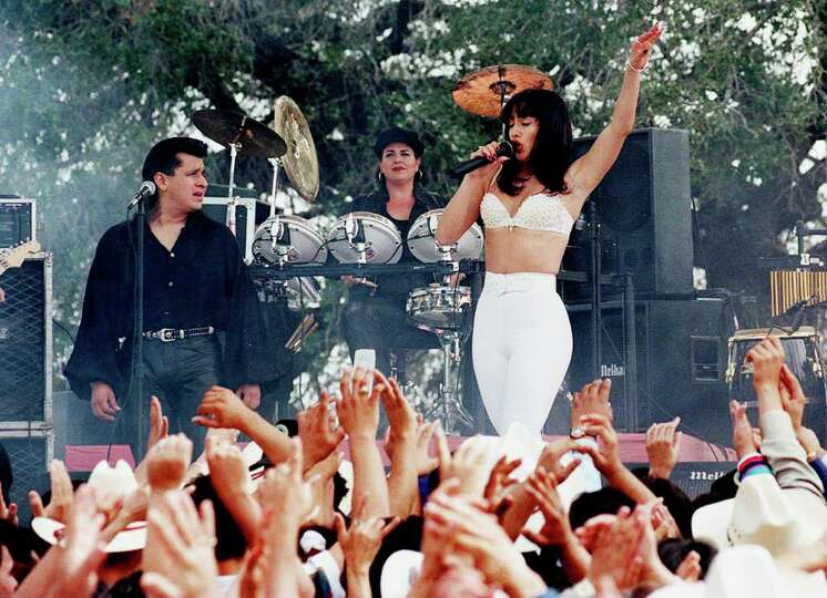 Jennifer Lopez performs as Selena in the motion picture during filming in Poteet. Photo by Doug Sehr