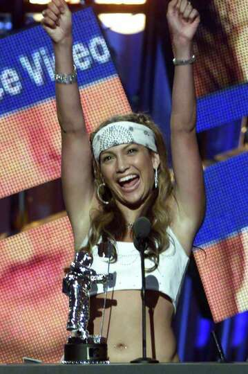 Jennifer Lopez accepts the MTV Video Music Awards Best Dance Video award for her song