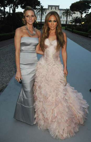 ANTIBES, FRANCE - MAY 20:  Charlene Wittstock and Jennifer Lopez arrives at amfAR's Cinema Against A