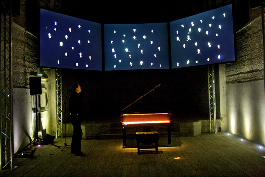 An image from Chopin performance by intermedia composer Jaroslaw Kapuscinski. (Courtesy the artist) Photo: Mela0701 At Yahoo Dot Pl