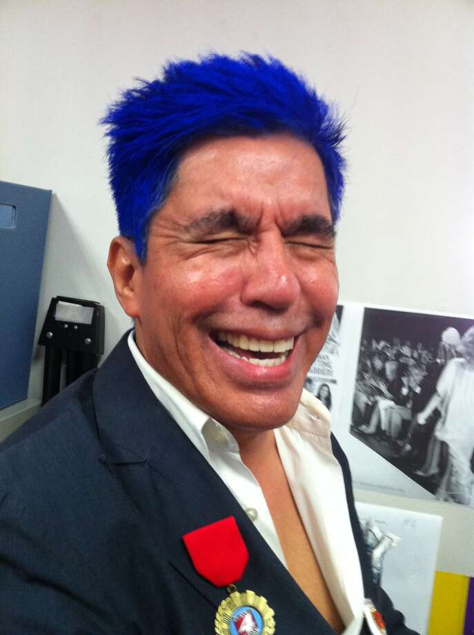 Show us Your Hair/Michael's Fiesta Follicles/Day 1: Anything but the blues for Michael Photo: Rene Guzman/Express-News