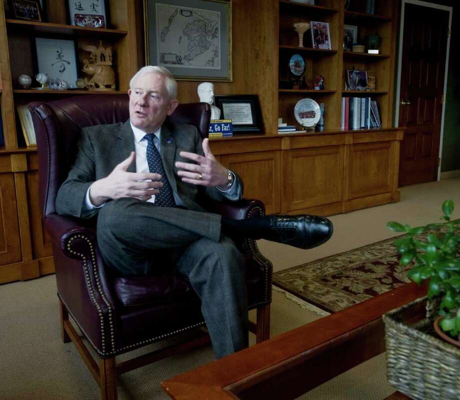Western Connecticut State University president James Schmotter is shown in his office at University Hall in Danbury Monday, March 14, 2011 Photo: Scott Mullin / The News-Times Freelance