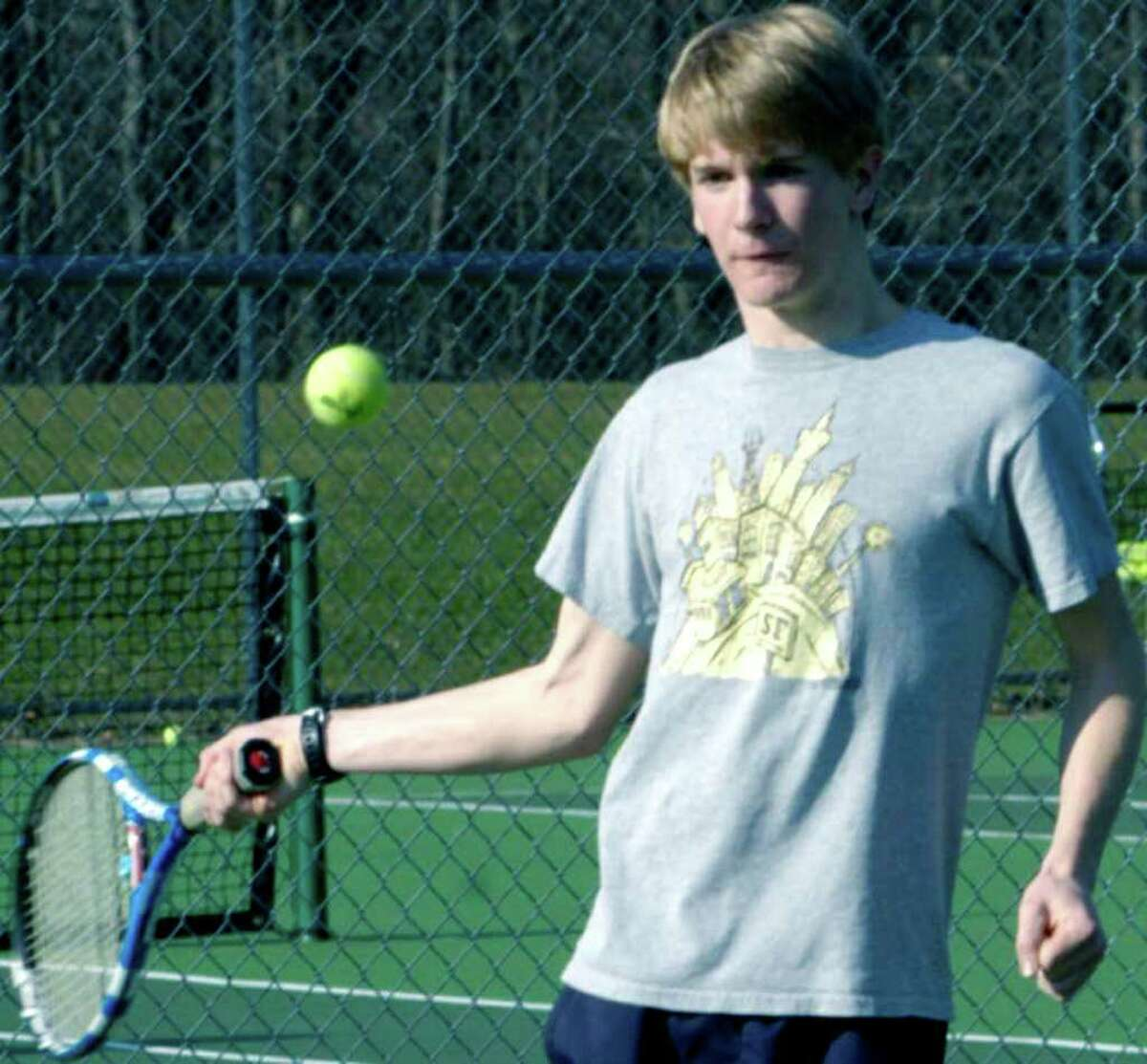 SPECTRUM/Ellery Rourk is one of numerous returning players hoping to make an impact for Shepaug Valley High School boys' tennis. April 2011