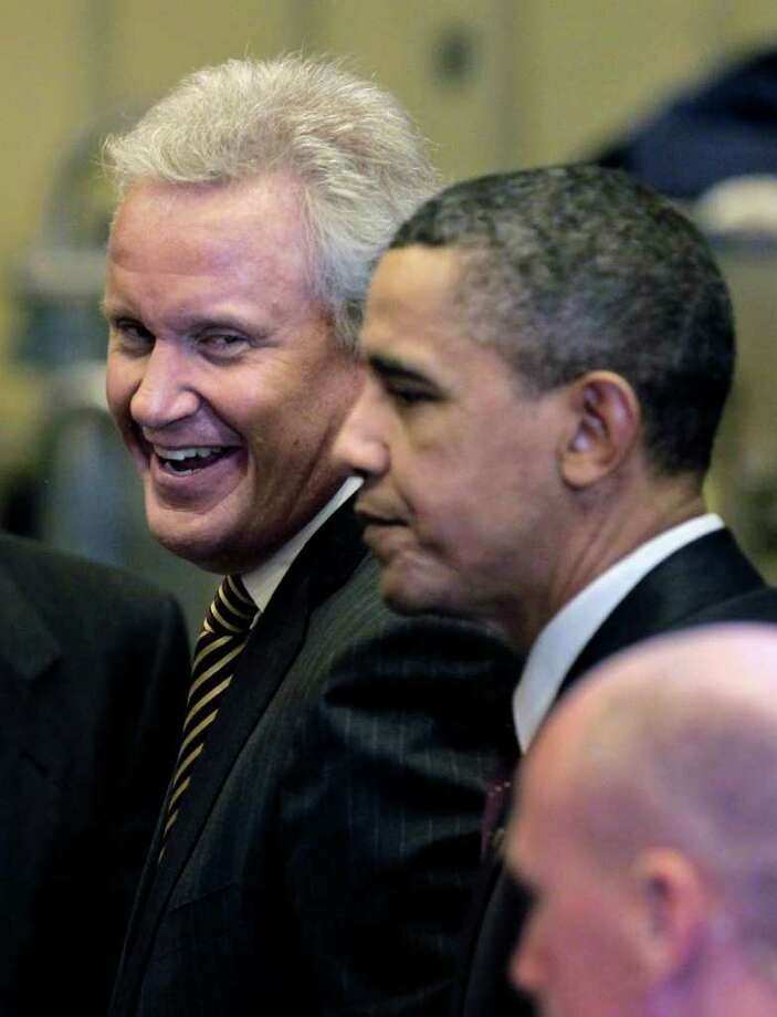 GE CEO Jeffrey Immelt, left, with President Barack Obama at the birthplace of General Electric Co. , Friday, Jan. 21, 2011, in Schenectady, N.Y.  (AP Photo/J. Scott Applewhite) Photo: J. Scott Applewhite, ST / AP2011