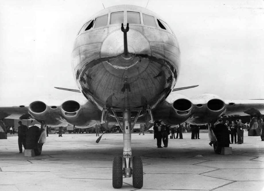 The prototype of the de Havilland Comet turbo-jet airliner, built at Hatfield, Hertfordshire, is shown on July 20, 1949. Photo: Central Press, Getty Images / Hulton Archive