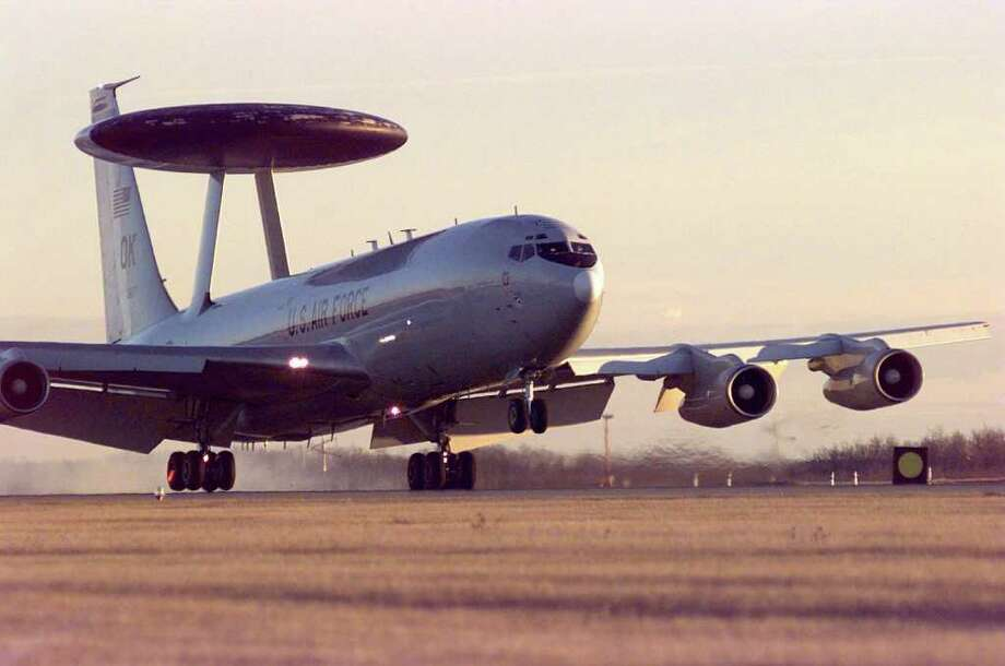 Northrop Grumman just marked the 40th anniversary of the disc-shaped Airborne Warning and Control System radar that flies atop a special Boeing 707-320B military jet called the E-3 Sentry. Photo: USAF, Getty Images / 2003 Getty Images