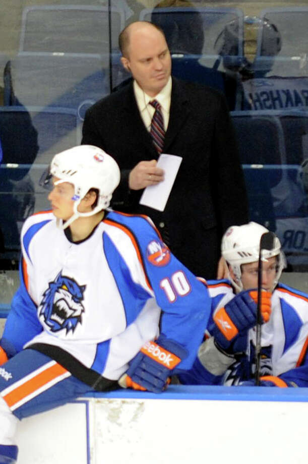Highlights of hockey action between the Sound Tigers and Hershey at the Webster Bank Arena in Bridgeport, Conn. on Sunday February 27, 2011. Sound Tigers Head Coach Pat Bingham. Photo: Christian Abraham, ST / Connecticut Post