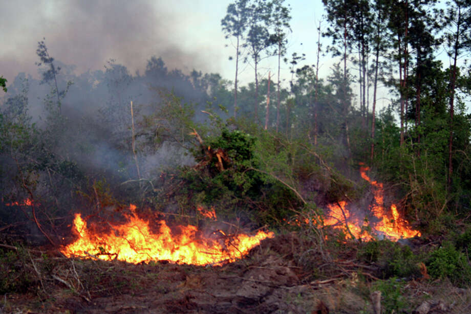 A backburn was put in place to contain a 800-acre wildfire in Hardin County on Wednesday. Four local fire departments were assisted by the Texas Forest Service and National Parks Service. Teresa Mioli/The Enterprise