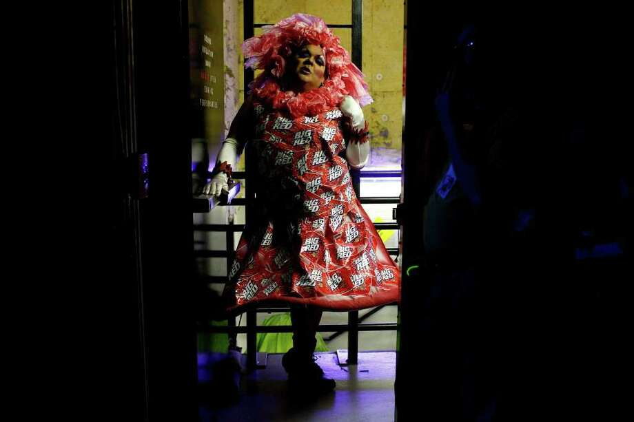 "Tony Fierova waits to perform as one of ""The Pointless Sisters"" during Cornyation, The Court of Double-Dip Shellacking, at the Charline McCombs Empire Theatre on Tuesday, April 12, 2011. Photo: LISA KRANTZ, Lisa Krantz/Express-News / SAN ANTONIO EXPRESS-NEWS"
