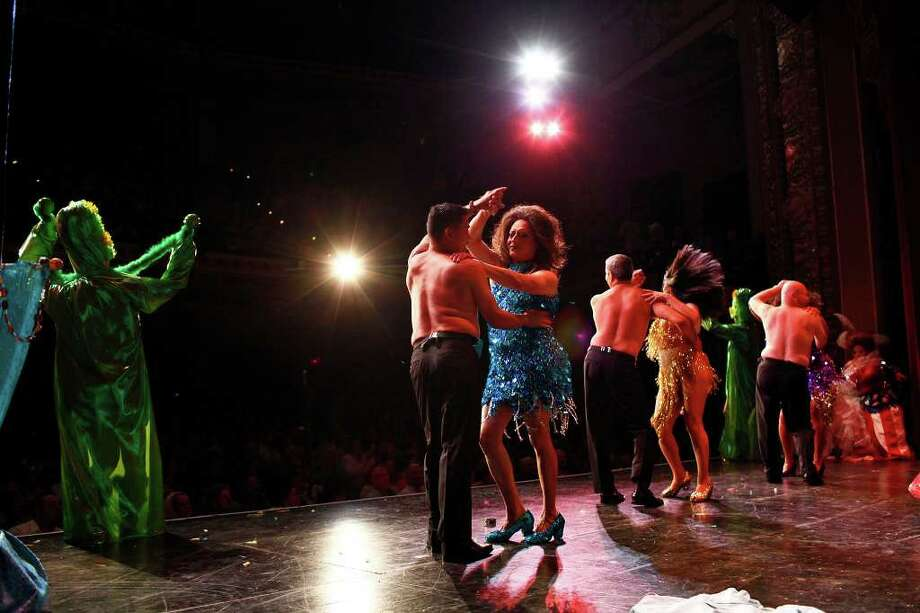 "The cast of ""The Queen of Arizona ala Mode"" representing The Arizona Immigration Law performs during Cornyation, The Court of Double-Dip Shellacking, at the Charline McCombs Empire Theatre on Tuesday, April 12, 2011. Photo: LISA KRANTZ, Lisa Krantz/Express-News / SAN ANTONIO EXPRESS-NEWS"