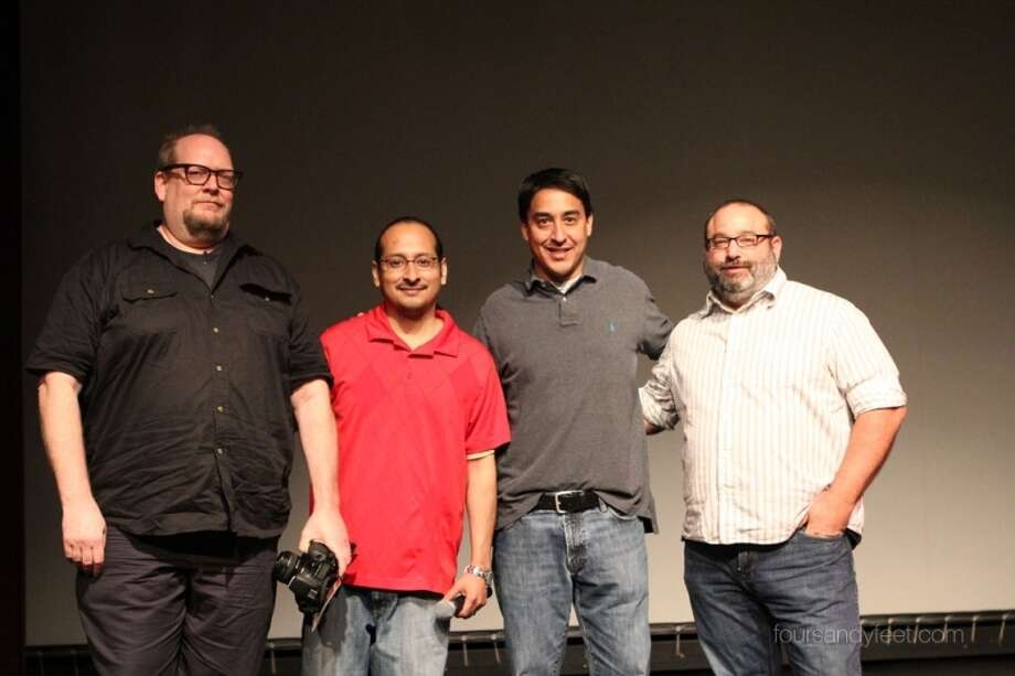 Pictured from the left at the Neighborhood Film Project 2.0 on March 27 are Erik Bosse, director; Manuel Solis, Guadalupe Cultural Arts Center; Rod Guajardo, director; Scott Greenberg, director. Photo: Courtesy Photo