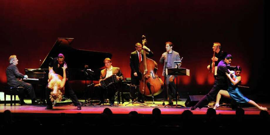 """Two pairs of tango dancers joined a band headed by pianist Pablo Ziegler and flautist Nestor Torres during the Westport Arts Center's """"Viva!"""" fundraiser. Photo: Contributed Photo"""