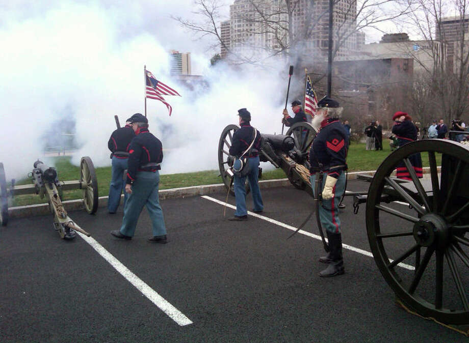 Members of the Connecticut Light Artillery fire cannons outside the Connecticut State Capitol to commemorate the Civil War's 150th anniversary in Hartford, Conn., Tuesday, April 12, 2011. Photo: Ken Dixon / Connecticut Post