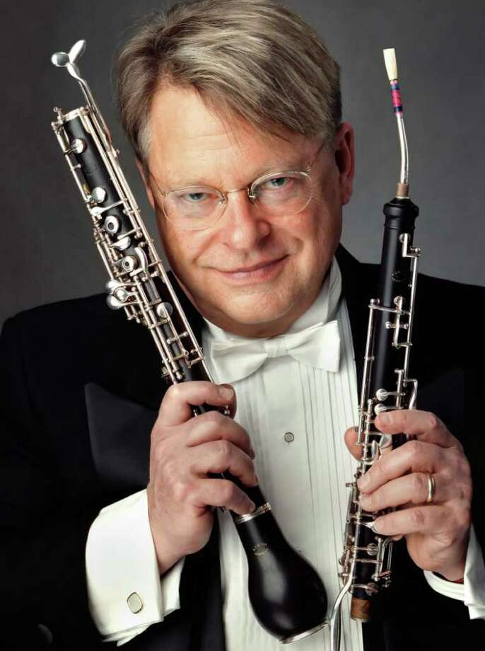 "English horn player Thomas Stacy is the guest soloist for the final two concerts of the Greenwich Symphony Orchestra's 2010-11 season. He will perform Kenneth Fuchs ""Eventide,"" a concerto for English horn, percussion, harp, celesta and string orchestra, Saturday and Sunday, April 16 and 17, at Greenwich High School. Contributed photo/Chris Lee Photo: Contributed Photo / Stamford Advocate Contributed"