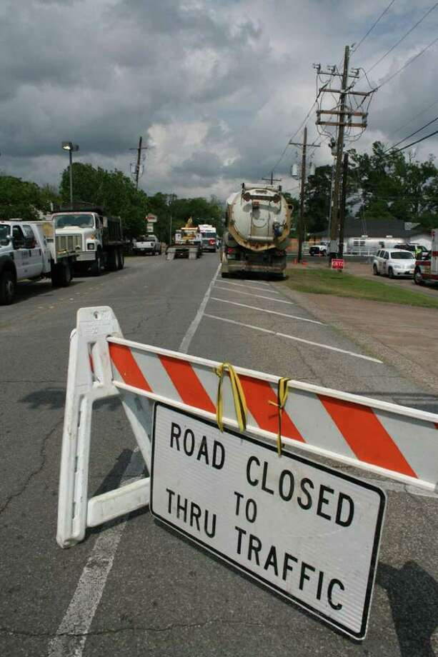 City crews struck a natural gas line while drilling to relocate a sewer line on Thursday afternoon. Homes and businesses in the area of the 5500 block of Calder Avenue were evacuated. Teresa Mioli/The Enterprise