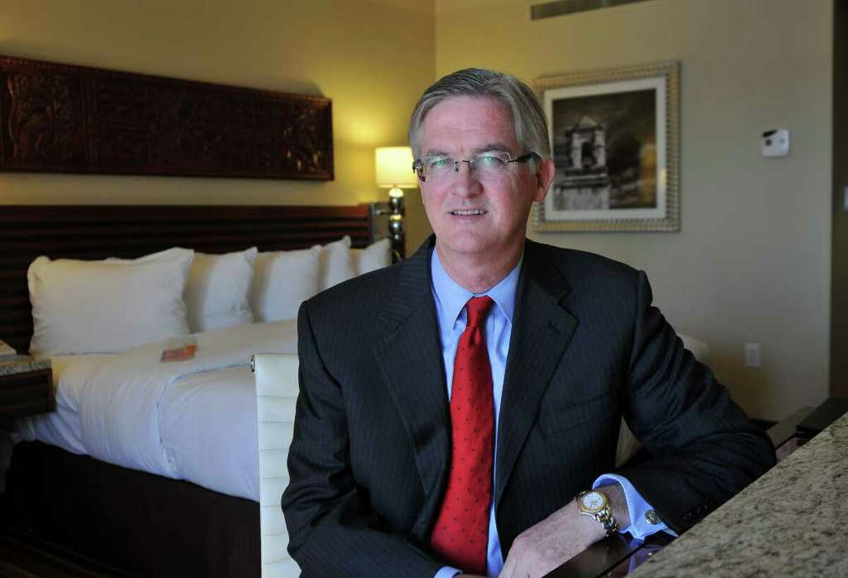 Robert Thrailkill, general manage of the Hilton Palacio Del Rio Hotel inside one of the newly renovated guest rooms.